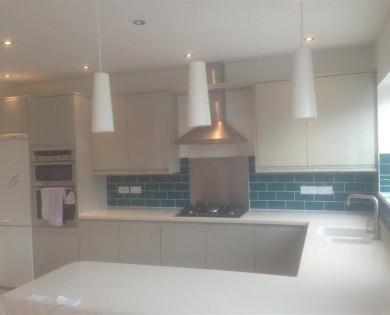 Kitchen with corian worktops