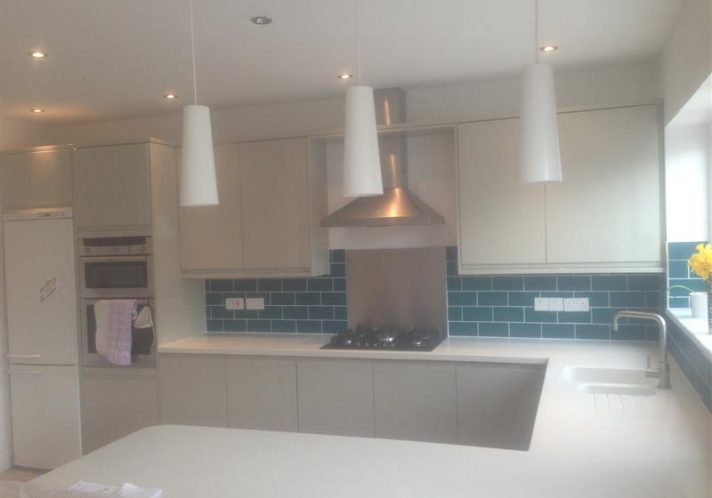 Kitchen with corian worktops